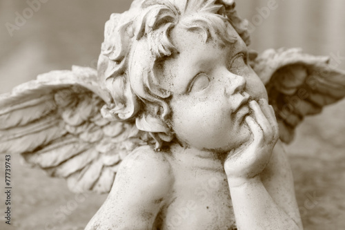 image  of cherub figurine in sepia Wallpaper Mural
