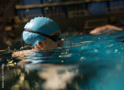 Photo  Swimmer at the swimming pool.Daily training.