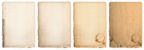 Photo aged paper sheet isolated on white background. used book page