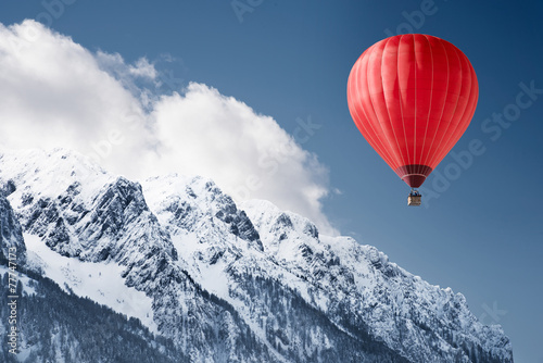 Ingelijste posters Ballon Balloon over winter landscape