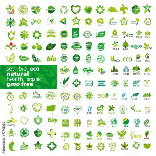 Fotografie, Obraz  big set of vector logos ecology, health, natural