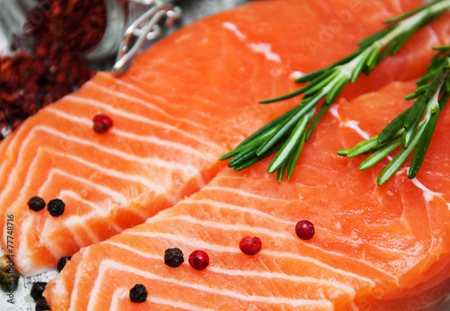 Poster Fish portions of fresh salmon fillet
