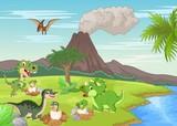 Fototapeta Dinusie - Cartoon dinosaur nesting ground
