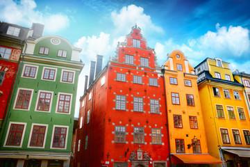 Panel Szklany Podświetlane Kolorowe domki Stockholm