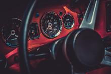 Interior Of Retro Vintage Car. Vintage Effect Processing