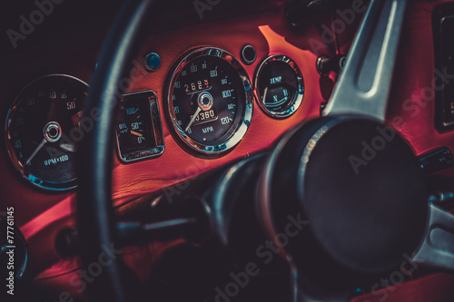 Fotografie, Tablou  Interior of retro vintage car. Vintage effect processing