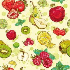 Fototapeta Do przedszkola vector seamless pattern with fresh fruits and berries