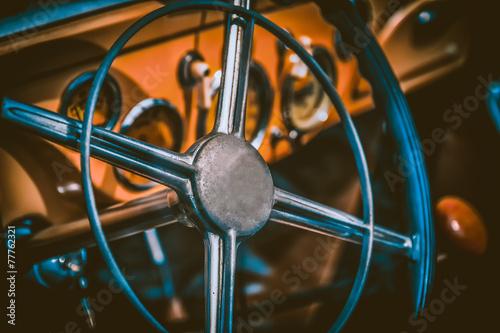 Foto Interior of vintage car. Vintage effect processing