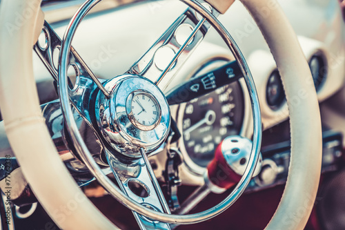 Retro interior of vintage car. Vintage effect processing Tablou Canvas