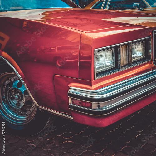 Old retro or vintage car front side. Vintage effect processing Slika na platnu