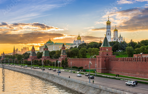 Poster Moscow Sunset view of Kremlin in Moscow, Russia
