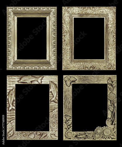 Fototapeta Set 4 antique golden frame isolated on black background, clippin obraz na płótnie