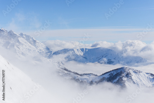 Fototapety, obrazy: View on mountains and blue sky above clouds