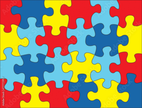 Puzzle Pieces in Autism Awareness Colors Background Illustration Wallpaper Mural