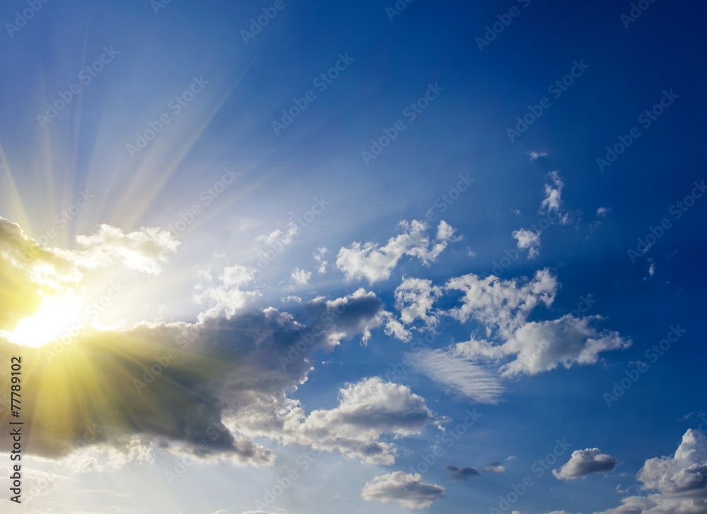 Fototapety, obrazy: Blue sky with clouds and sun