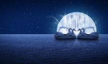 Swan Pedal Boat On Fantasy Sea...