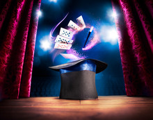 High Contrast Image Of Magician Hat On A Stage