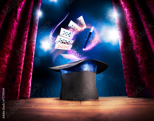 High contrast image of magician hat on a stage Canvas Print