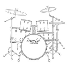 Vector Outline Drum Set On Whi...