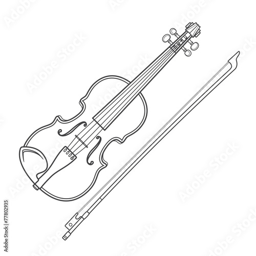 vector grey outline vector violin fiddle bow on white background Fototapeta
