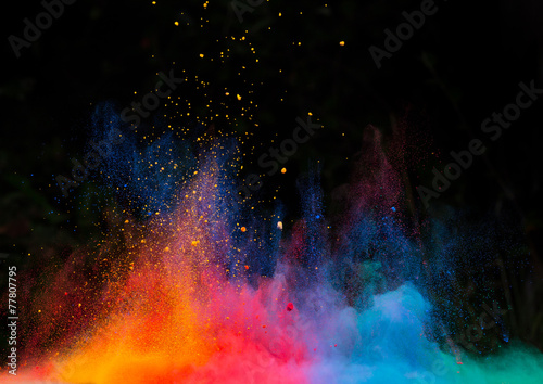 Fotografie, Obraz  launched colorful powder over black