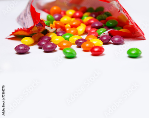 Openned pack with skittles in it Poster Mural XXL
