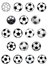 Black And White Soccer Balls Or Footballs