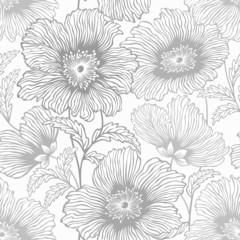 Obraz na Plexiseamless monochrome floral patterrn