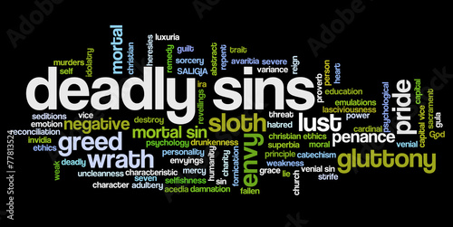 Tag cloud related to seven deadly sins Fotobehang