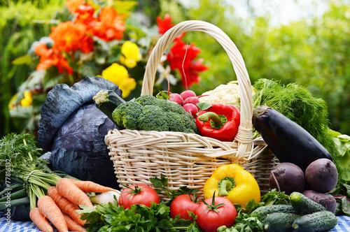 Foto op Plexiglas Groenten Assorted vegetables in wicker basket in the garden