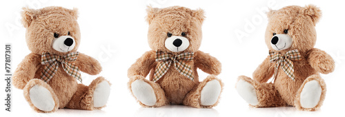 Cuadros en Lienzo Toy teddy bear isolated on white background