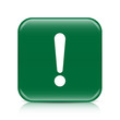 Green exclamation sign button icon with reflection