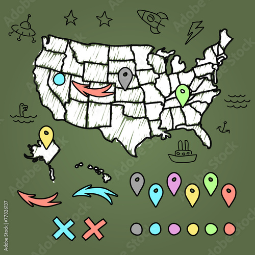Hand drawn US map on chalkboard vector illustration - Buy this stock ...