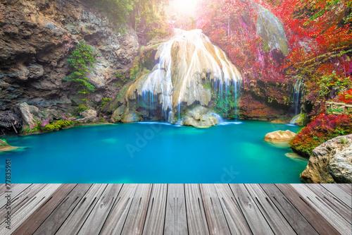 Wall Murals Waterfalls wonderful waterfall in thailand with wooden floor