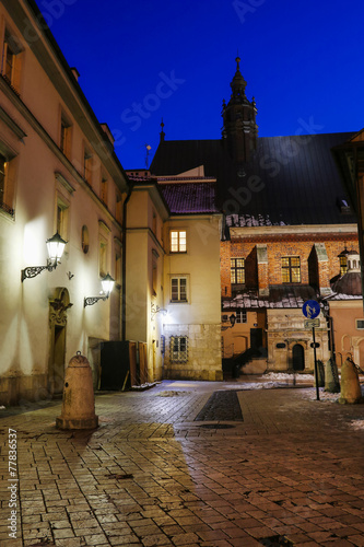Ancient tenements in city center of Krakow, Poland #77836537