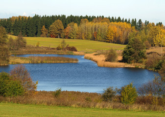 Fototapeta Beautiful autumn landscape with lake