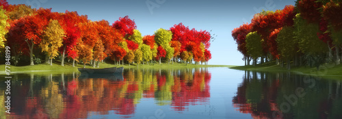 Spoed Foto op Canvas Bomen trees and reflection