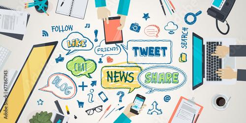 Fotografie, Obraz  Flat design illustration concept for social network