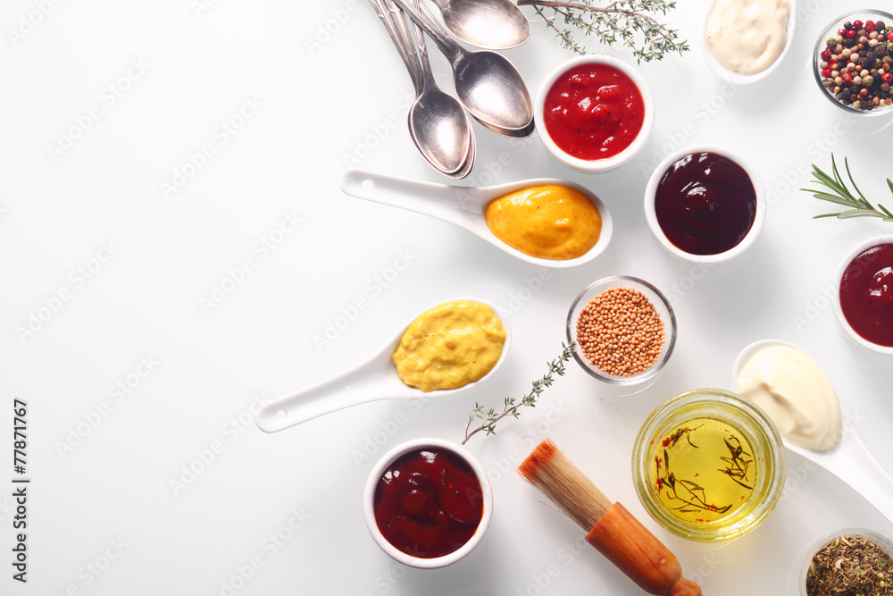Fototapety, obrazy: Various Spicy Rubs and Marinades on White Table