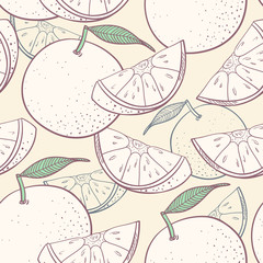 Panel Szklany Do gastronomi Grapefruit stylized seamless pattern