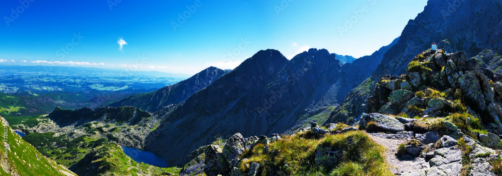 Fototapety, obrazy: Panoramic from my way to the top Świnica in the Polish Tatras
