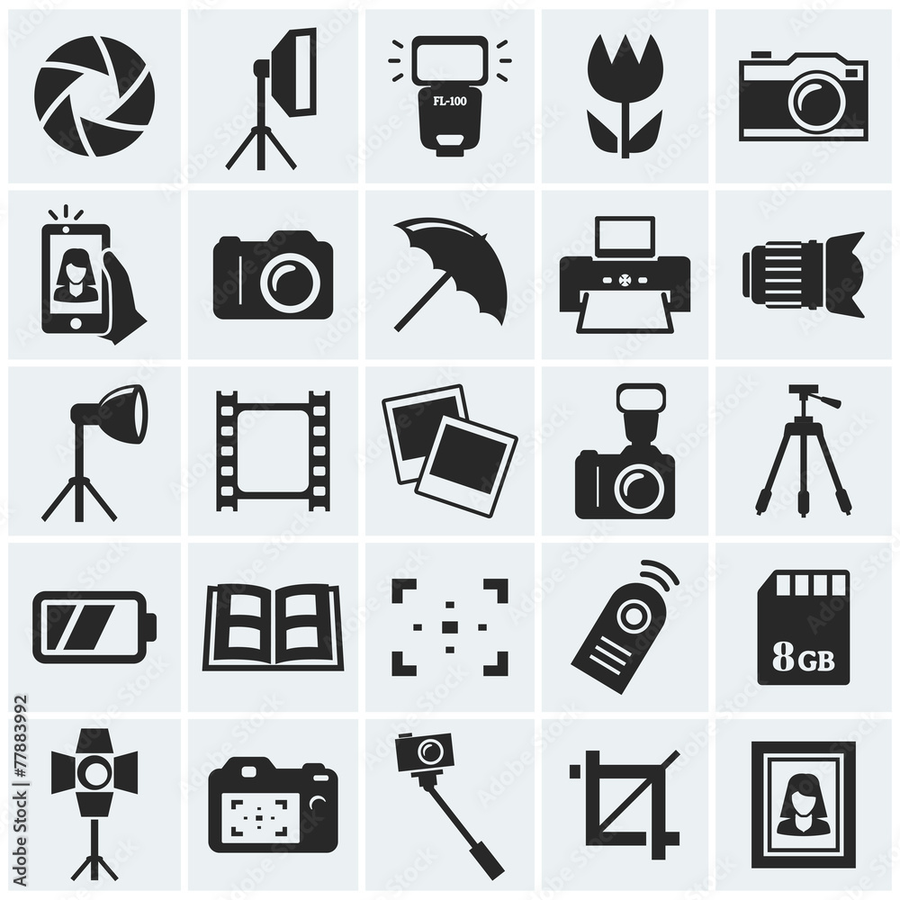 Fototapety, obrazy: Photo icons. Vector icons.