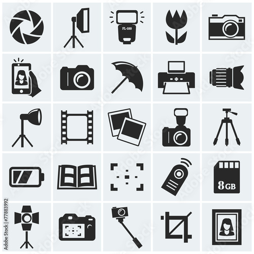Obraz Photo icons. Vector icons. - fototapety do salonu