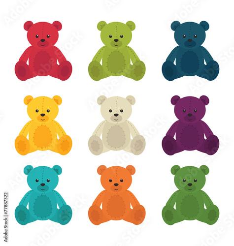 Vector cute teddy bears set isolated #77887322