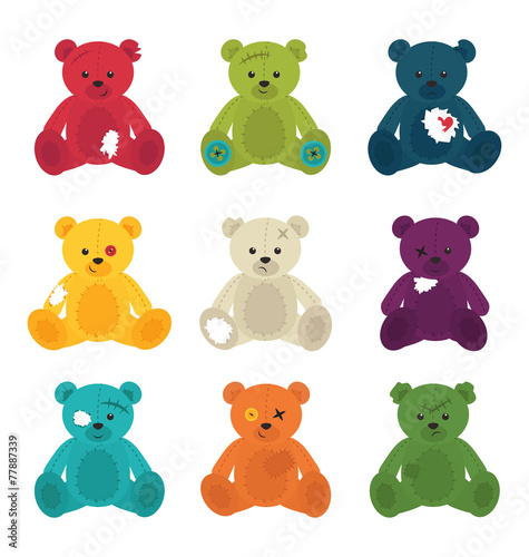 Broken cute teddy bears isolated #77887339