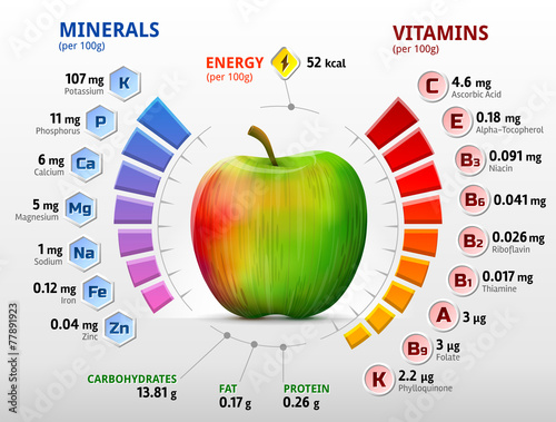 Fotografie, Obraz  Vitamins and minerals of apple. Apple nutrients infographics