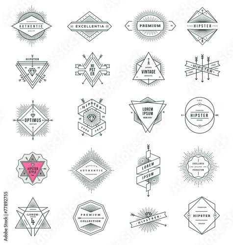 Fotografie, Obraz  Set of hipster line signs and emblems with sunburst
