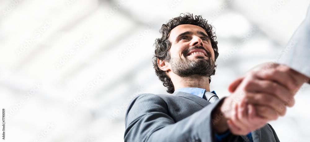 Fototapeta Business people handshake. Lots of copyspace
