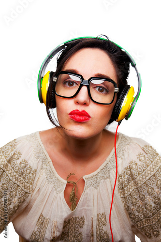 Young Woman wearing Black Large Framed Glasses Listening to Head Canvas Print