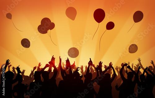 Fotografia  People Crowd Party Celebration Drinks Arms Raised Concept